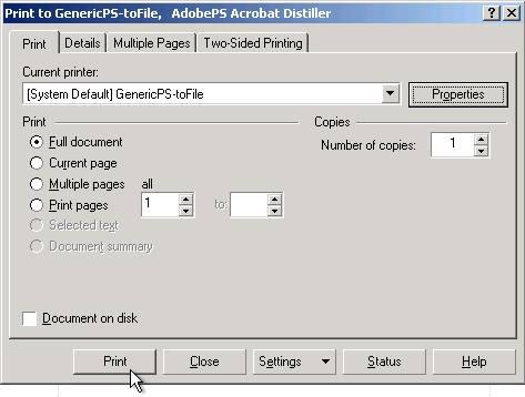 how to create postscript file